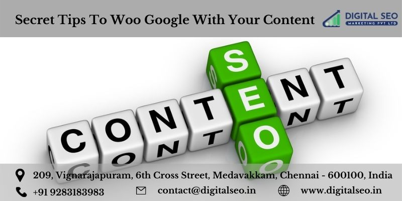 Content and seo written in each green & white colour squares arranged .