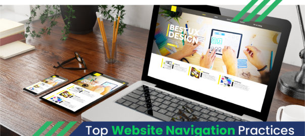 A brown color table with laptop showing some images on best UX design with a tablet , mobile, pencil stand and spectacles on its side displayed on the poster of Digital SEO